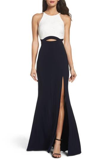 Blondie Nites Colorblock Lace Gown, Blue