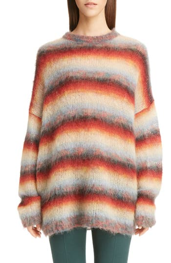 Women's Chloe Mohair Blend Degrade Stripe Sweater, Size X-Small - Red