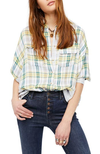 Free People One Of The Guys Plaid Shirt, Blue