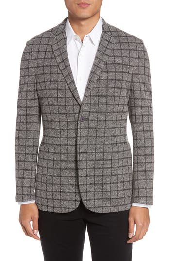 Vince Camuto Del Aria Slim Fit Check Knit Jacket, Grey