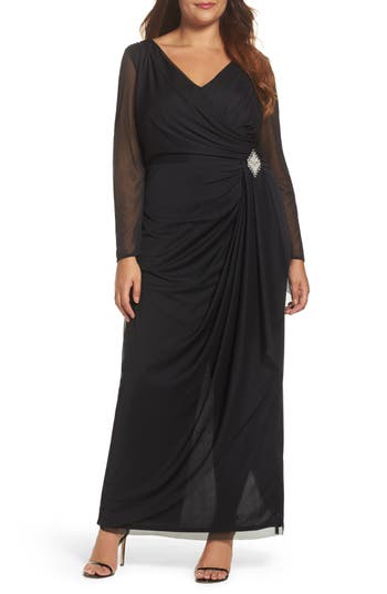 Plus Size Marina Embellished Faux Wrap Gown