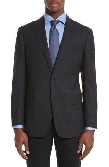 Armani Collezioni Trim Fit Check Wool Sport Coat, Blue