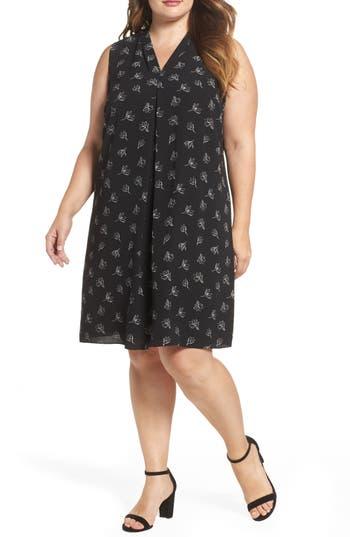 Plus Size Vince Camuto Fluent Flowers Inverted Pleat Shift Dress, Black