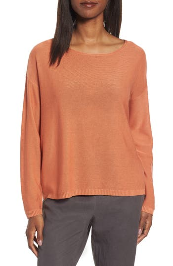 Eileen Fisher Tencel & Wool Boxy Sweater, Orange