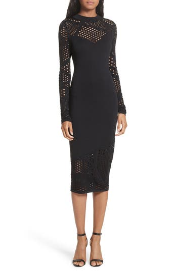 Milly Fractured Pointelle Body-Con Dress, Size Petite - Black