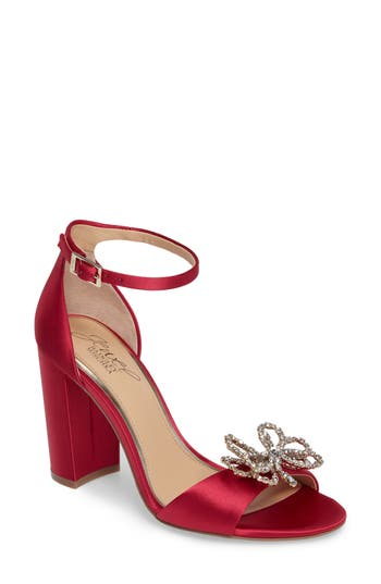 Jewel Badgley Mischka Lex Embellished Block Heel Sandal, Pink