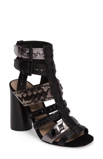 Donald J Pliner Bindy Column Heel Cage Sandal- Black