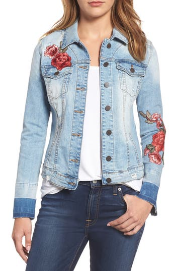 Women's Kut From The Kloth Lily Patch Detail Denim Jacket, Size X-Small - Blue