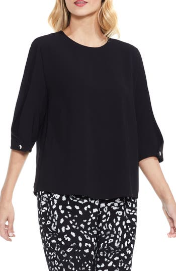 Women's Vince Camuto Bubble Sleeve Blouse, Size X-Small - Black