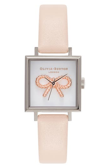 Women's Olivia Burton Vintage Bow Square Leather Strap Watch, 23Mm