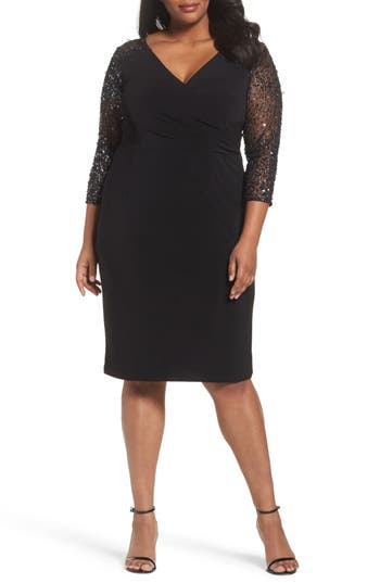Plus Size Adrianna Papell Embellished Stretch Knit Cocktail Dress