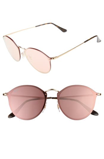 Women's Ray-Ban 59Mm Blaze Round Mirrored Sunglasses - Gold/ Pink