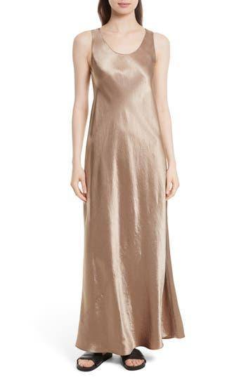Vince Bias Satin Maxi Dress, Brown