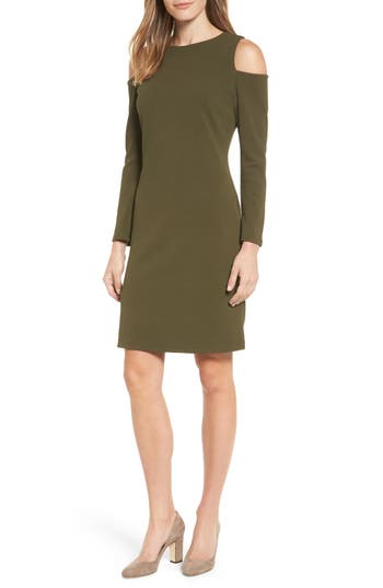 Halogen Knit Cold Shoulder Dress, Green