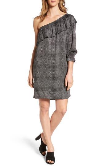 Velvet By Graham & Spencer One-Shoulder Print Shift Dress, Black