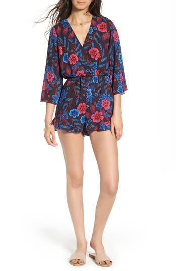 Women's Everly Floral Print Romper, Size Small - Purple