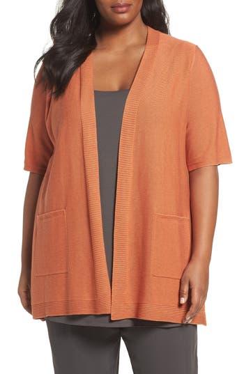Plus Size Eileen Fisher Simple Tencel & Merino Wool Cardigan, Orange