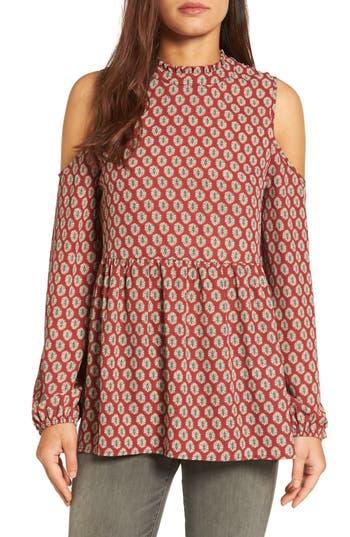 Women's Bobeau Ruffle Neck Babydoll Top, Size XX-Small - Red