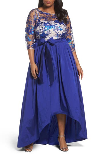Plus Size Adrianna Papell Floral Flutter Embellished High/low Gown, Blue