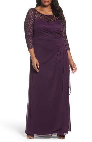 Plus Size Xscape Lace & Matte Jersey Gown, Purple