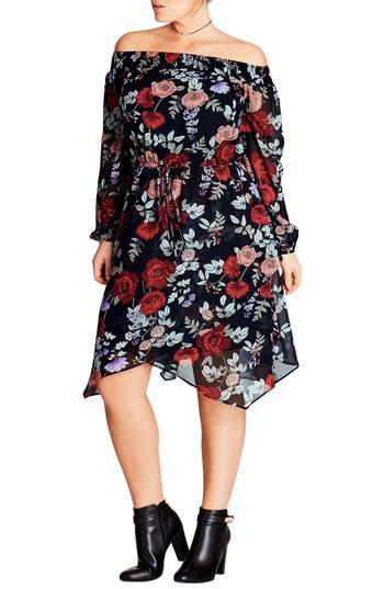 Plus Size City Chic Dark Poppy Off The Shoulder Dress, Red