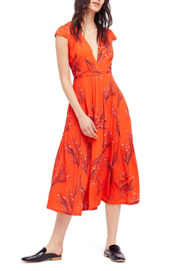 Free People Print Retro Midi Dress, Red