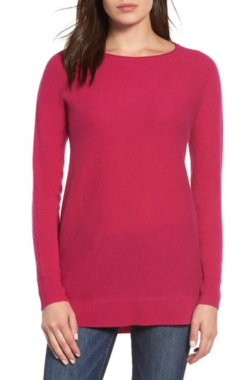 Halogen High/low Wool & Cashmere Tunic Sweater, Pink