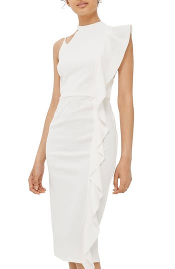 Women's Topshop Asymmetrical Ruffle Midi Dress, Size 2 US (fits like 0) - White