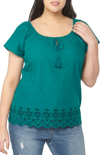 Plus Size Women's Evans Off The Shoulder Embroidered Top, Size 14W US / 18 UK - Blue