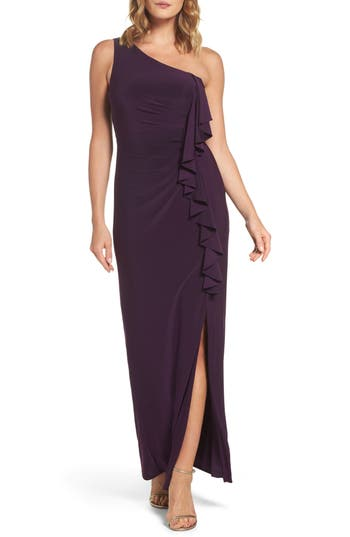Eliza J Ruffle Front One-Shoulder Gown, Purple