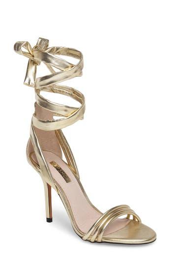 Women's Topshop Ramona Ankle Wrap Sandal, Size 6.5US / 37EU - Metallic