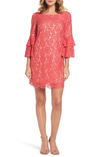 Eliza J Lace Bell Sleeve Dress, Red