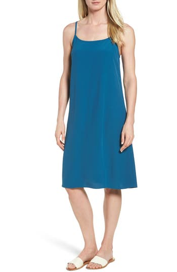 Eileen Fisher Midi Slipdress, Blue/green