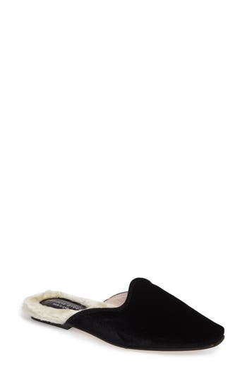 Patricia Green Velvet Mule With Faux Fur Lining, Black