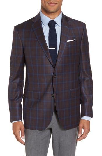 Ted Baker London Jay Trim Fit Plaid Wool Sport Coat, S - Burgundy