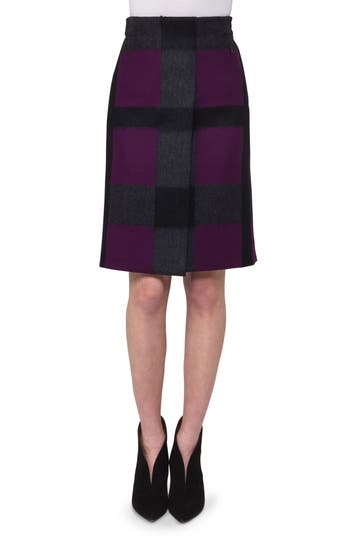 Women's Akris Plaid Double Face Wool Blend A-Line Skirt