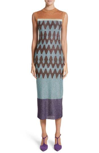 Missoni Colorblock Metallic Knit Midi Dress, US / 40 IT - Blue