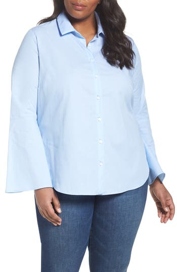 Plus Size Women's Sejour Stripe Bell Sleeve Poplin Shirt