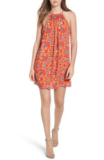 Everly Print High Neck Swing Dress, Orange
