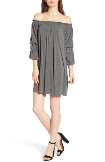 Bailey 44 Blue Blood Off The Shoulder Dress, Grey