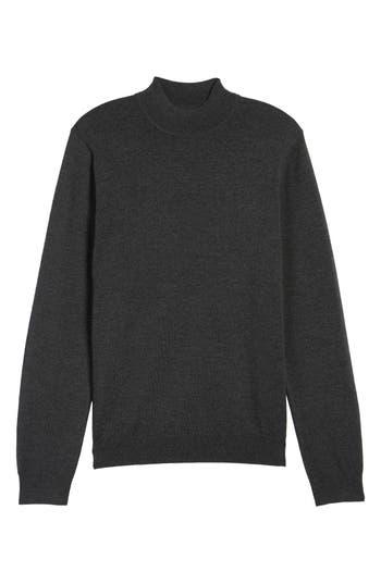 Big & Tall Nordstrom Shop Mock Neck Merino Wool Sweater, Grey