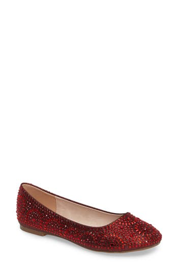 Lauren Lorraine Brooke Crystal Embellished Ballet Flat- Red