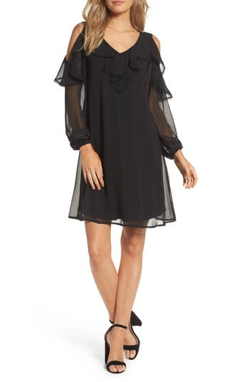 Taylor Dresses Chiffon Cold Shoulder A-Line Dress, Black