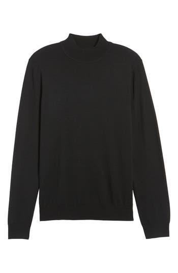 Big & Tall Nordstrom Mock Neck Merino Wool Sweater, Black