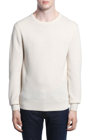 Todd Snyder Merino Waffle Knit Wool Sweater, White