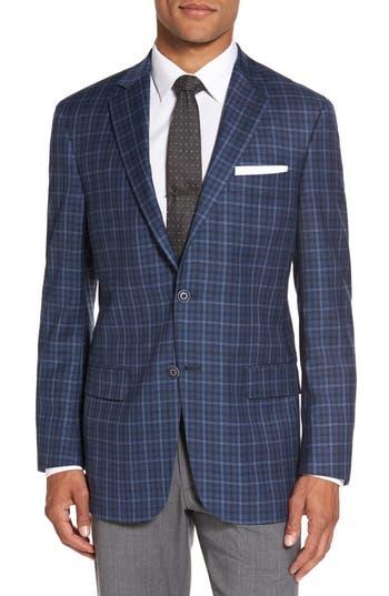 Big & Tall Hart Schaffner Marx Classic Fit Check Wool Sport Coat, 4 L - Blue