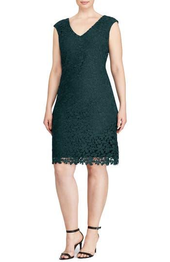 Plus Size Lauren Ralph Lauren Montie Floral Lace Sheath Dress, Green