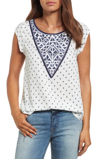 Women's Thml Embroidered Bib Print Top, Size X-Small - Ivory