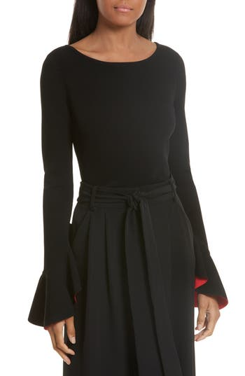 Women's Milly Contrast Lined Bell Sleeve Top, Size Petite - Black