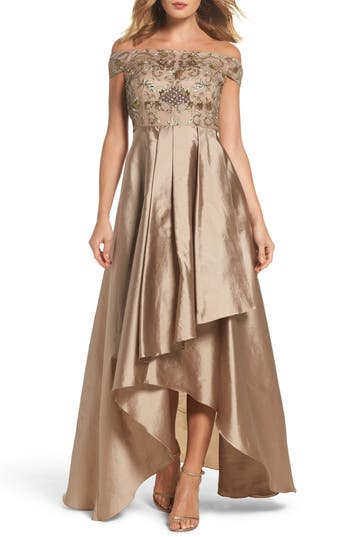 Adrianna Papell Embellished High/low Off The Shoulder Dress, Metallic